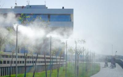 Microclima con pulverización de agua